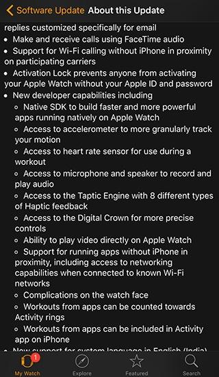 A full change log of watchOS 2