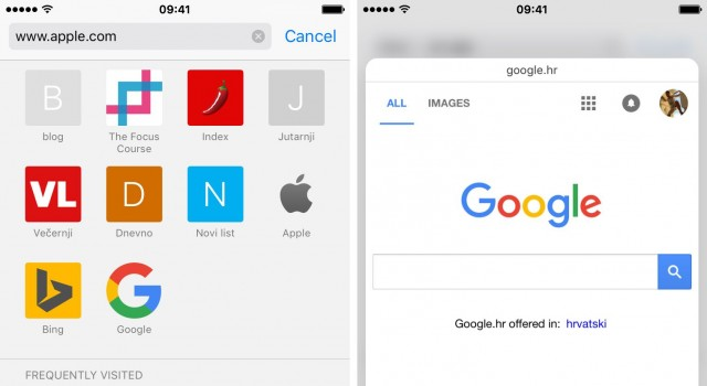 In addition, when you click on the address bar, Safari will list your favorite websites, then tapping these sites icons using 3D Touch will also opens a preview of your favorite website,