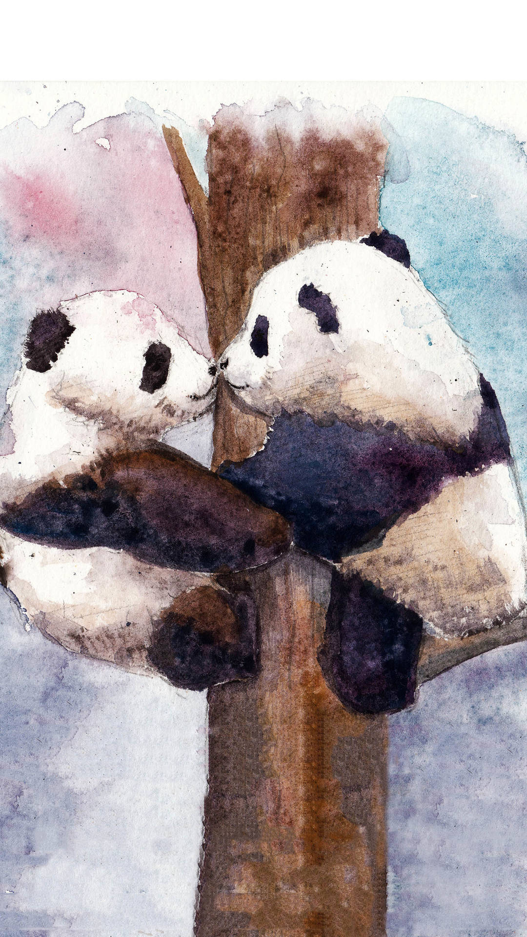 Two Giant Pandas In Climbing Trees