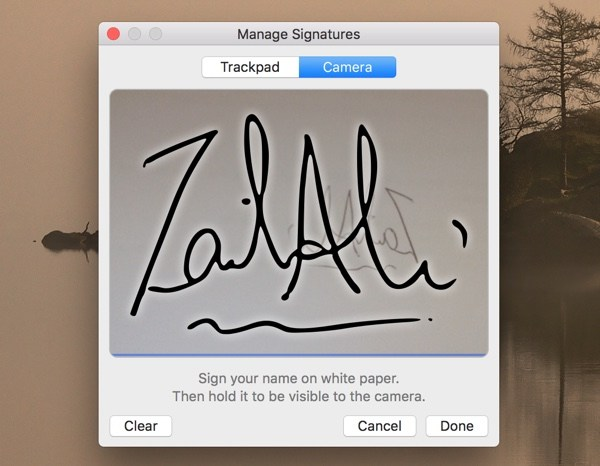 Manage Signature on Mac