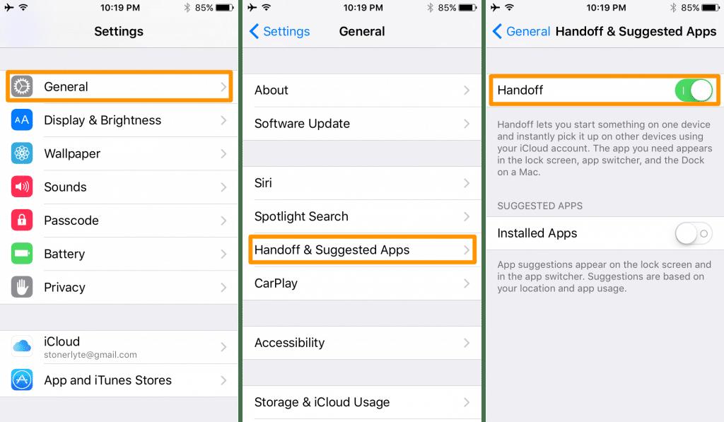 enable handoff in iOS