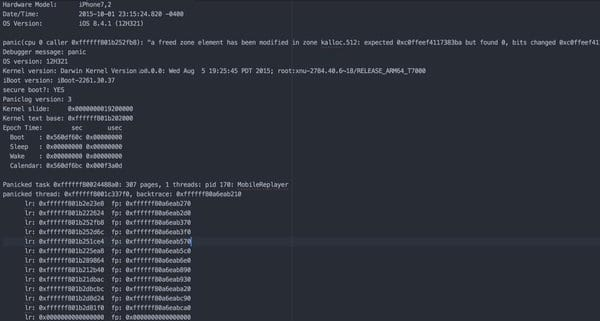 Darwin Kernel Version 15.5.0: Thu Mar 31 17:49:02 PDT 2016; root : xnu-3248.50.18~19\/RELEASE_ARM64_S8000X