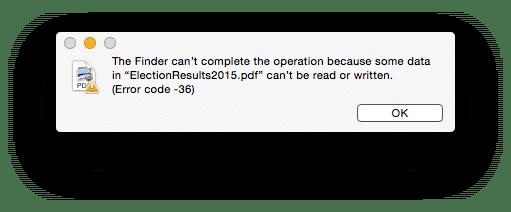 error code -36 on mac