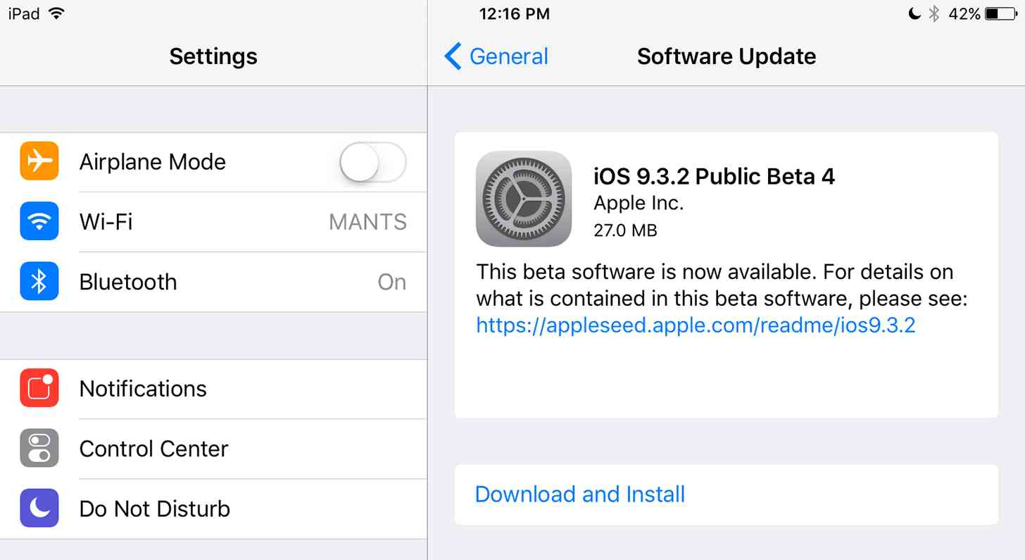 iOS 9.3.2 beta 4 update