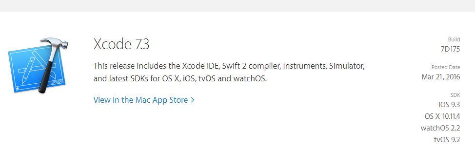 xcode 7.3